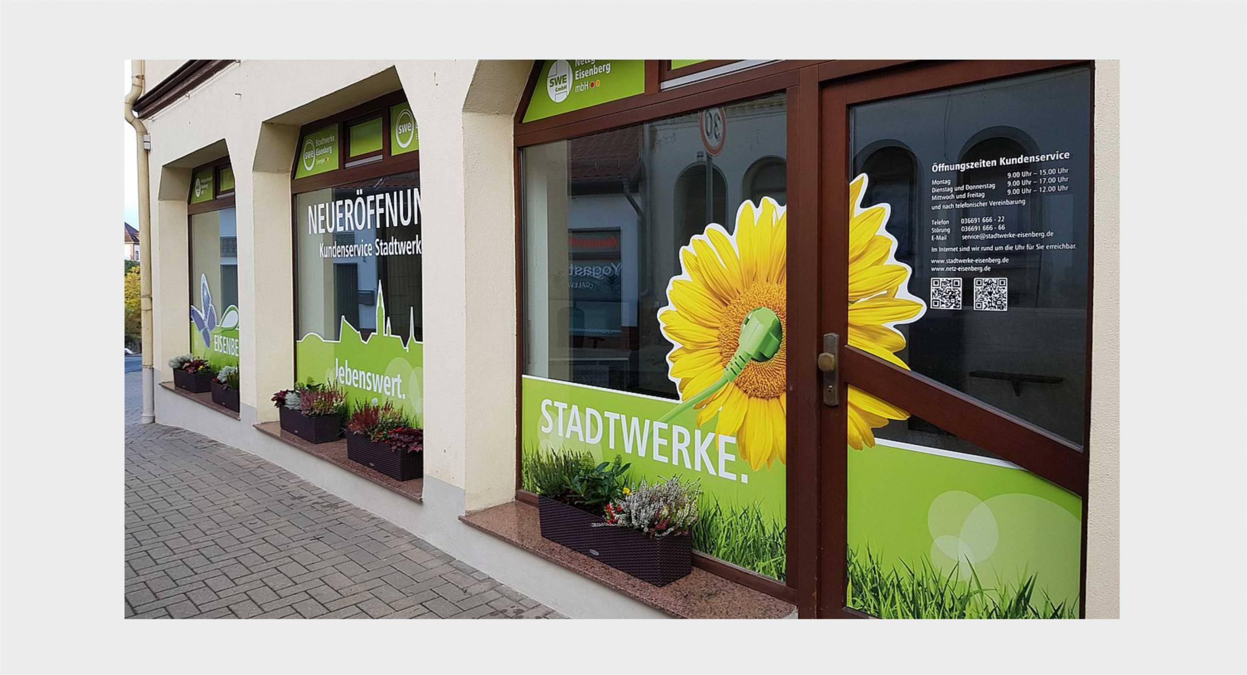 Stadtwerke Energie Eisenberg – Fensterbeklebung Servicegeschäft
